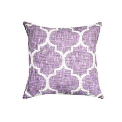 A1HC Thistle Printed Ogee Ikat Cotton 18 in. Decorative Pillow