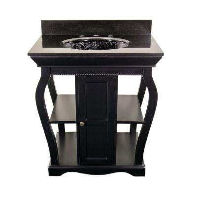 Vineta 30 in. Vanity in Black with Undermount Granite Vanity Top in Black