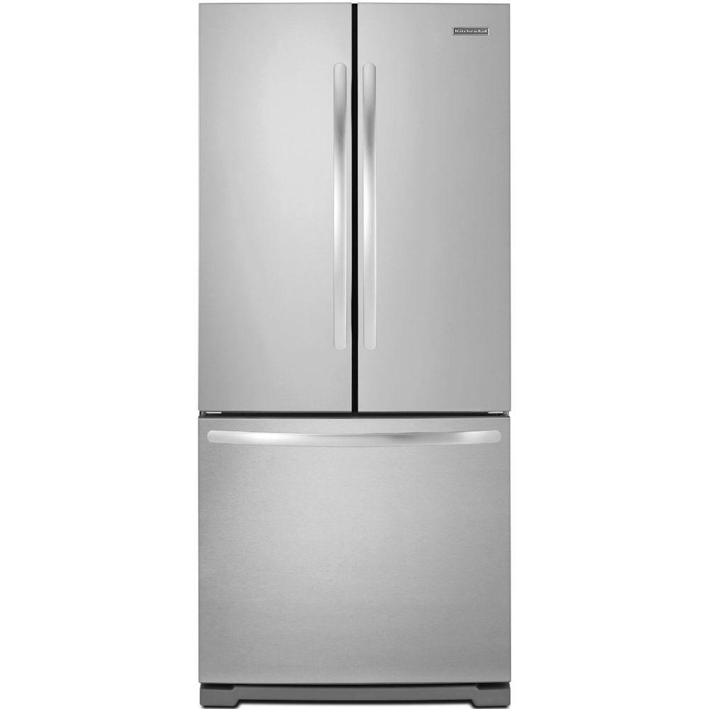 KitchenAid Architect Series II 30 in. W 19.7 cu. ft. French Door Refrigerator in Monochromatic Stainless Steel
