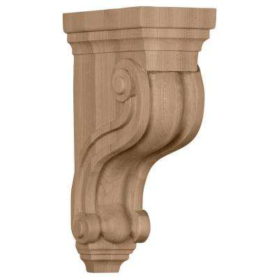 3-3/8 in. x 6-1/2 in. x 10-1/2 in. Rubberwood Boston Traditional Scroll Corbel