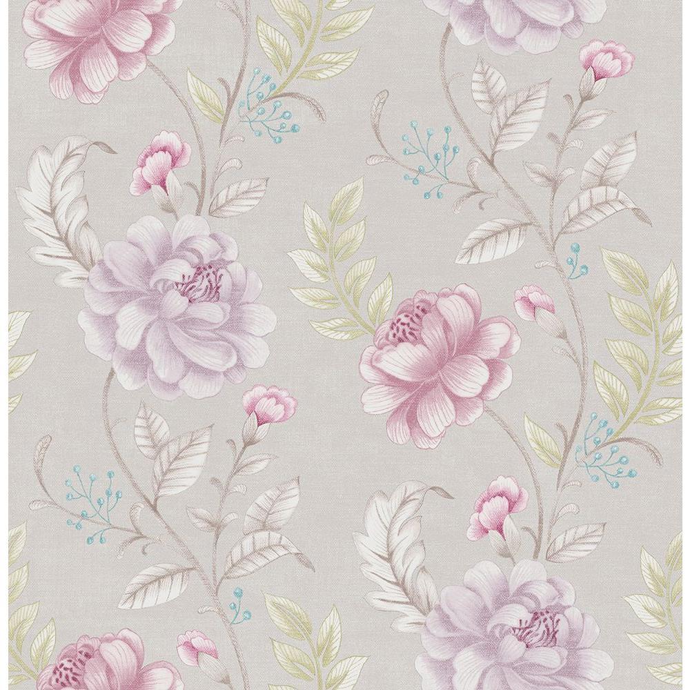 Brewster Ellie Purple Jacobean Wallpaper
