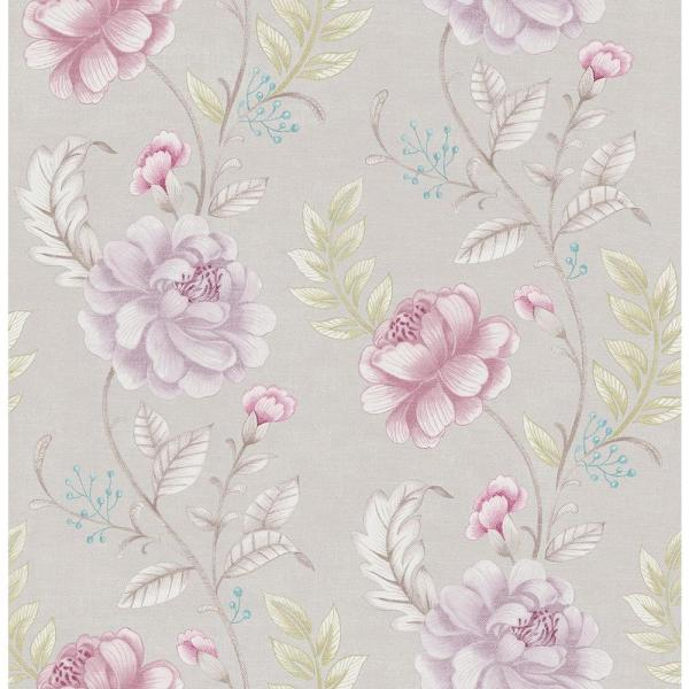 Brewster Ellie Purple Jacobean Wallpaper Sample 2686-21760SAM