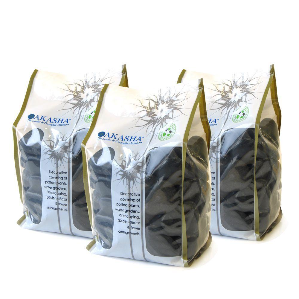 15 lb. Black Standard River Rock Box Contains (3) 5 lb. Bags