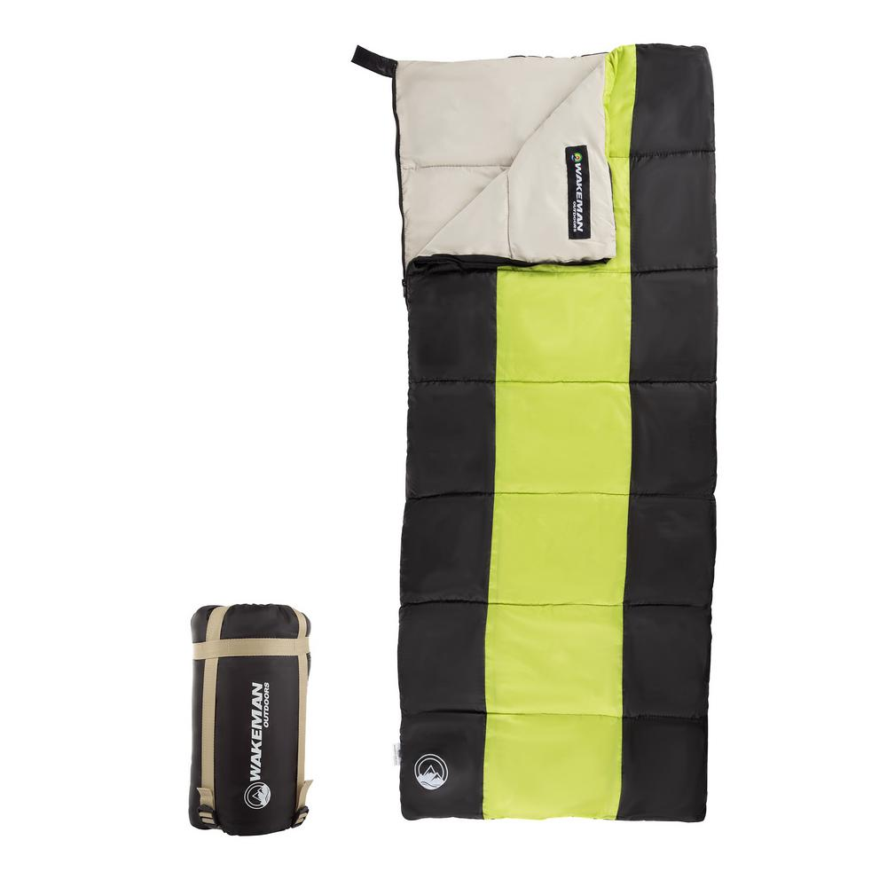 Wakeman Outdoors Kids Lightweight Sleeping Bag With Carrying And Compression Straps In Neon Green Black