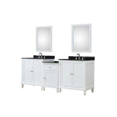 Classsic Hybrid Bath and Makeup 83 in. W Vanity in White with Granite Vanity Top in Black with White Basin and Mirrors