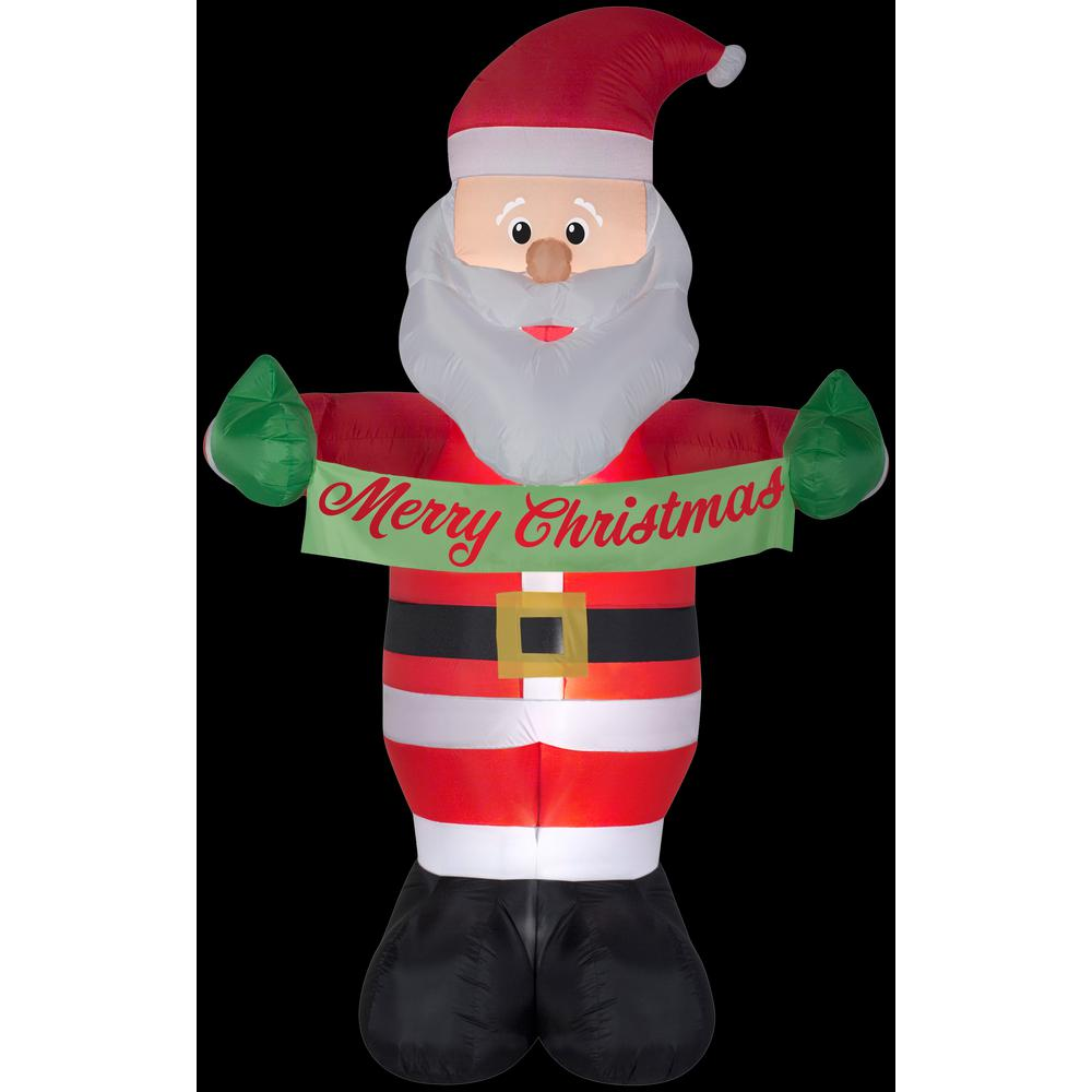 Airblown 5 ft. W x 8 ft. H Inflatable Animated Santa with Banner ...