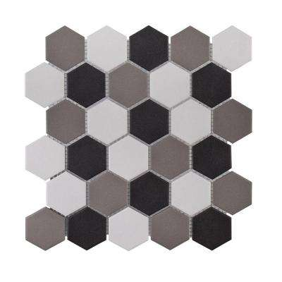 Ink Blot Brown/Tan Honeycomb 10.75 in. x 12.25 in. x 6 mm Matte Porcelain Mosaic Floor and Wall Tile