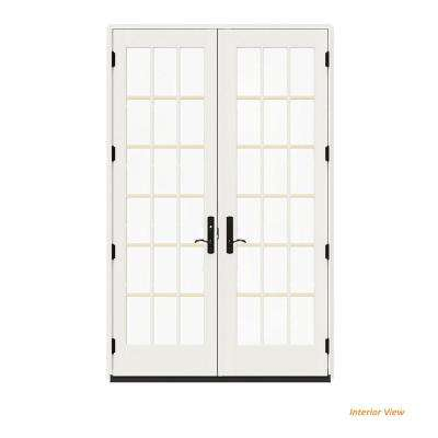 60 in. x 96 in. W-4500 Contemporary Vanilla Clad Wood Right-Hand 18 Lite French Patio Door w/White Paint Interior