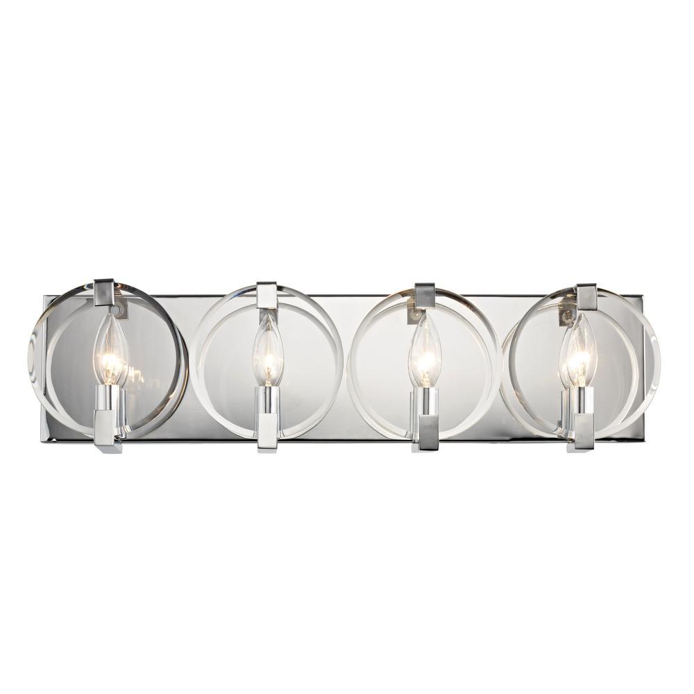 Kinsale 4-Light Polished Chrome Sconce with Clear Beveled Glass