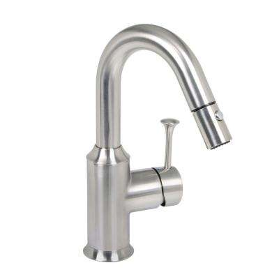 Pekoe Single-Handle Bar Faucet with Pull-Down Sprayer in Stainless Steel
