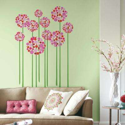Flowers wall decals wall decor the home depot h bright floral dot 18 piece peel mightylinksfo