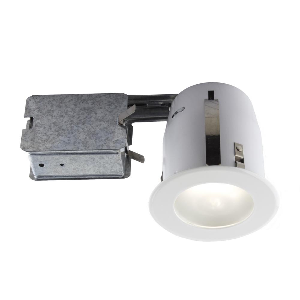 4-in. White Slim Design Recessed Fixture Kit for Damp Locations