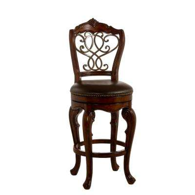 Burrell 26 in. Brown Cherry and Old Steel Swivel Cushioned Counter Stool