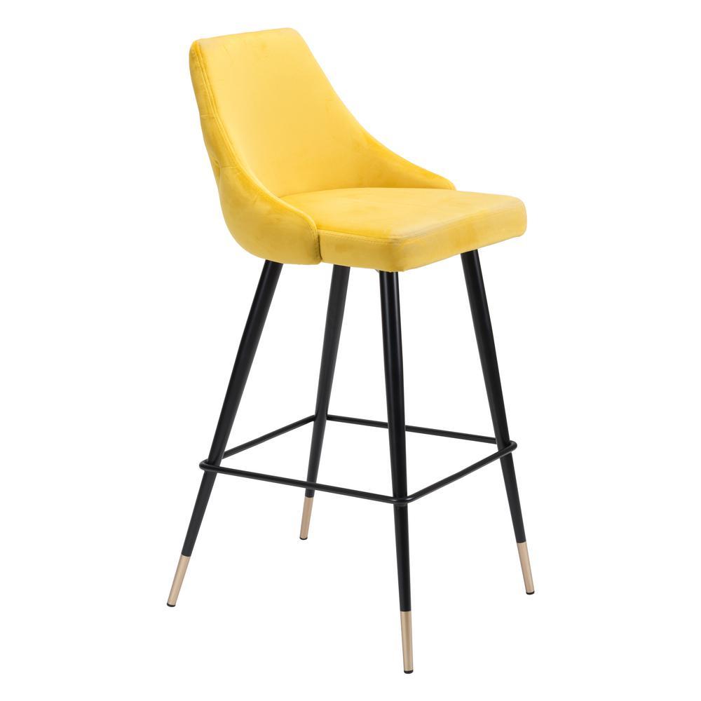 Piccolo 40.6 in. Yellow Velvet Bar Chair