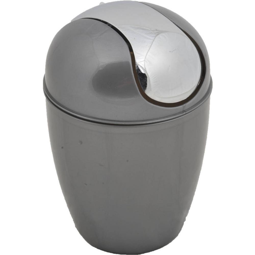 4.5 l/ 1.2 Gal. Round Bath Floor Trash Can Waste Bin in Grey