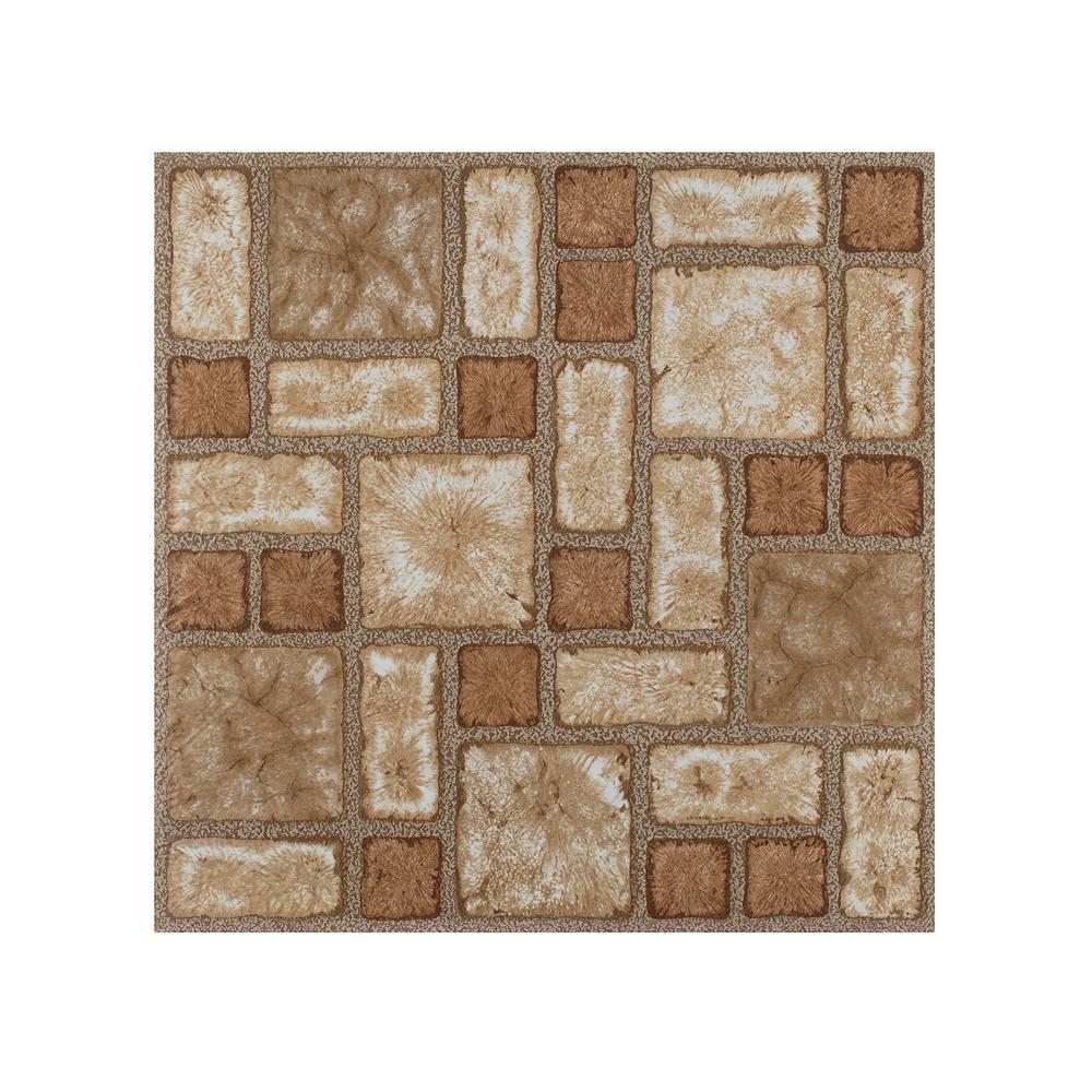 Portfolio Cobble Mosaic 12 in. x 12 in. Peel and Stick Vinyl Tile Flooring (9 sq. ft./case)