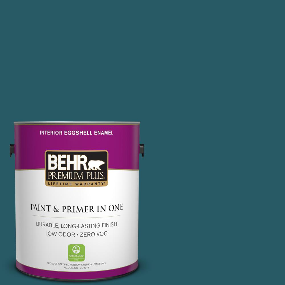 BEHR Premium Plus 1-gal. #S-H-530 Tropical Skies Zero VOC Eggshell Enamel Interior Paint