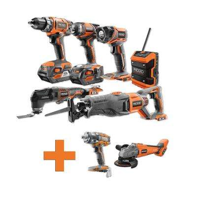 18-Volt Lithium-Ion Cordless Combo Kit (6-Tool) (2) 4Ah Batt and Charger w/Bonus Brushless Angle Grinder & Impact Wrench