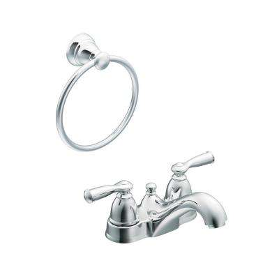Banbury 4 in. Centerset 2-Handle Low-Arc Bathroom Faucet in Chrome with Towel Ring