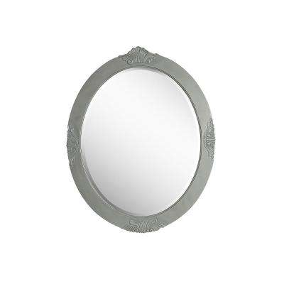 Winslow 30 in. x 37.75 in. Single Framed Wall Mount Mirror in Antique Gray