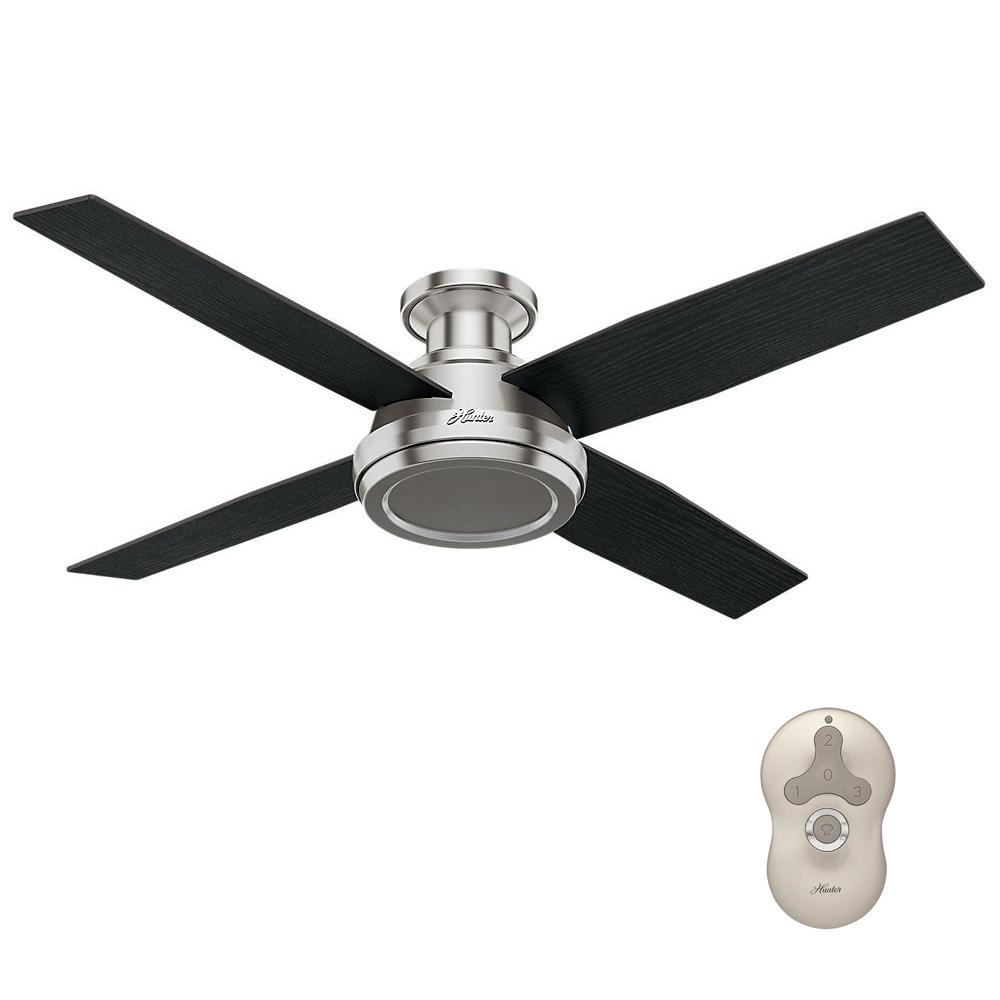 Low Profile No Light Indoor Brushed Nickel Ceiling Fan With Remote