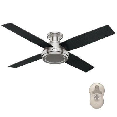 Dempsey 52 in. Low Profile No Light Indoor Brushed Nickel Ceiling Fan with Remote Control