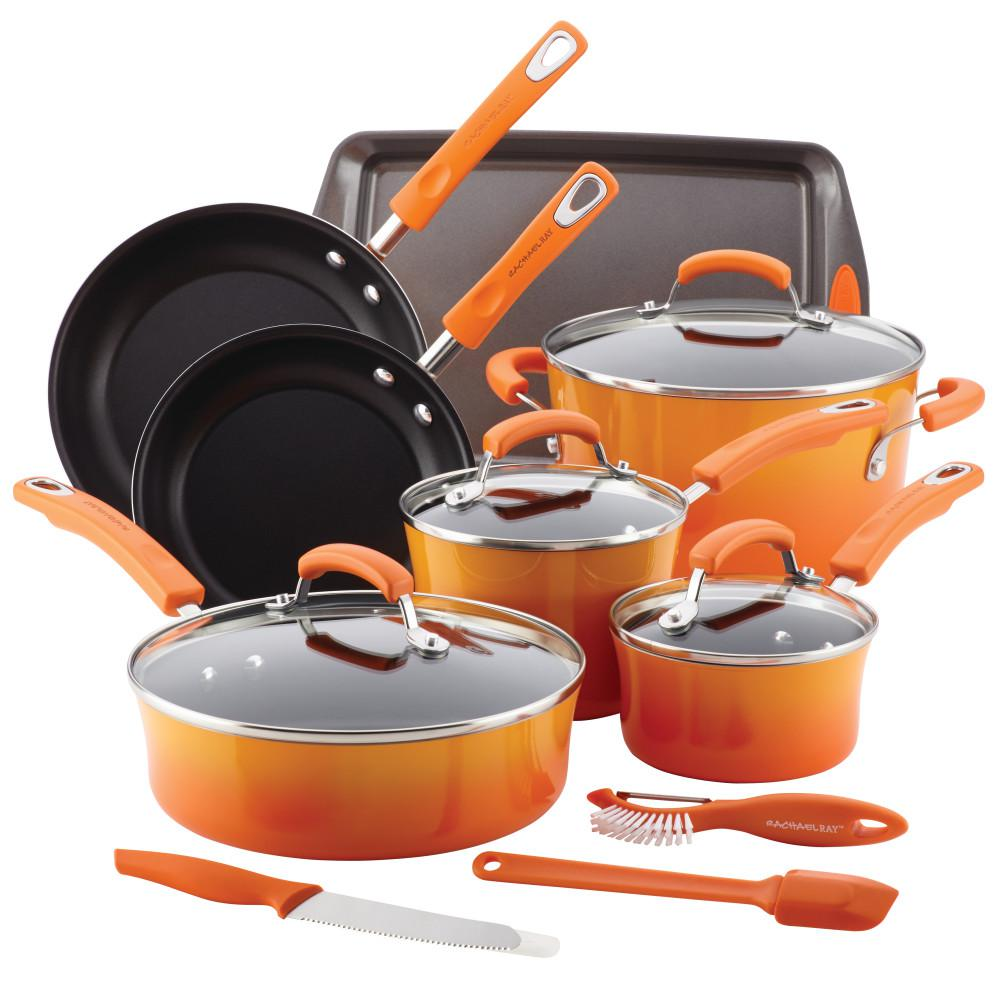 Rachael Ray Classic Brights 14-Piece Orange Porcelain