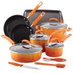 Rachael Ray Classic Brights 14-Piece Orange Porcelain Nonstick Cookware Set with Bakeware and Tools