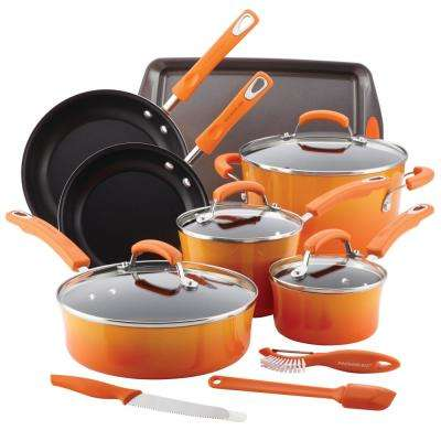Classic Brights Porcelain 14-Piece Orange Nonstick Cookware Set with Bakeware and Tools