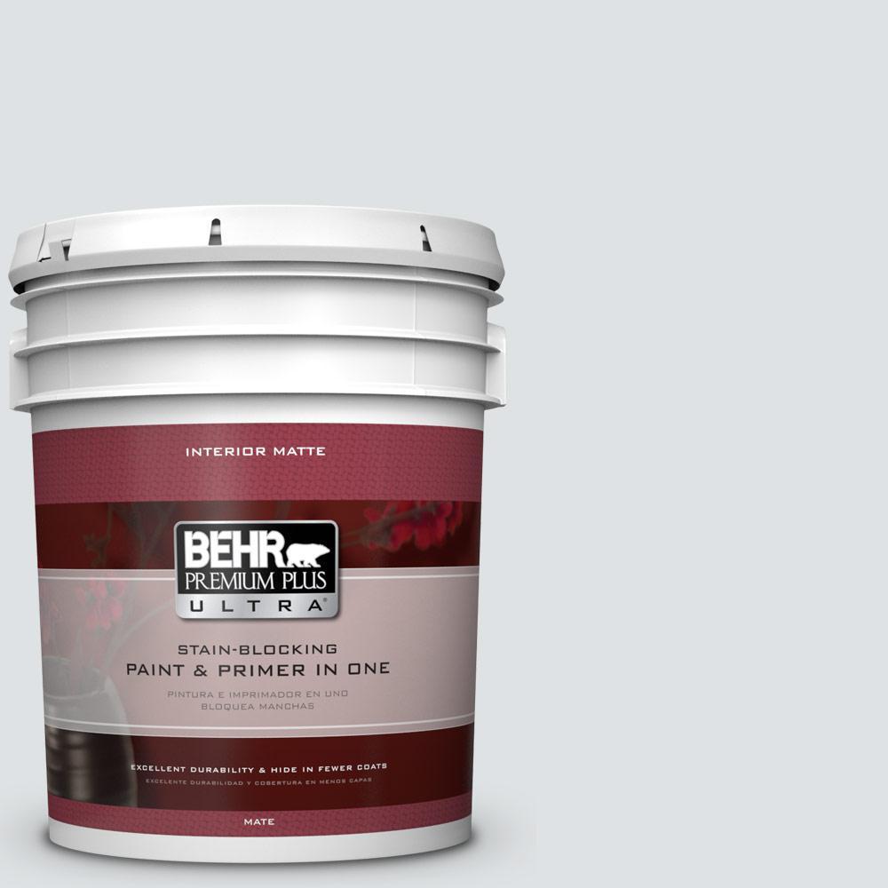 BEHR Premium Plus Ultra 5 gal. #W-F-520 Ash White Flat/Matte Interior Paint