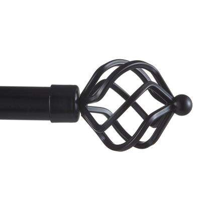 66 in. - 120 in.Adjustable Length 1 in. Dia Curtain Rod Kit in Matte Black with Torch Finial