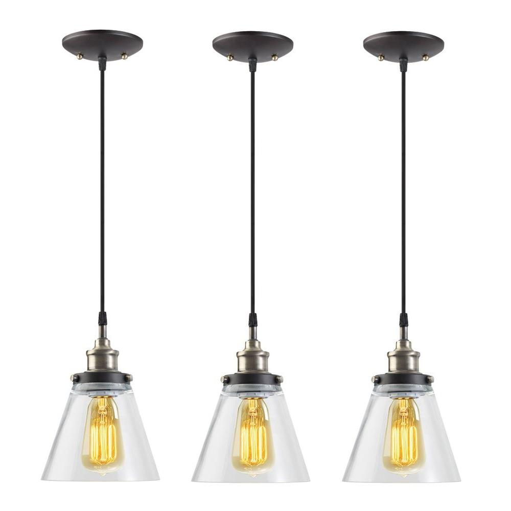 glass pendant lighting fixtures. globe electric jackson 1light vintage edison antique brass bronze and black hanging pendant 3pack65207 the home depot glass lighting fixtures a