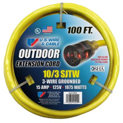 USW 100 ft. 10/3 Yellow Heavy-Duty Extension Cord with Lighted Plug