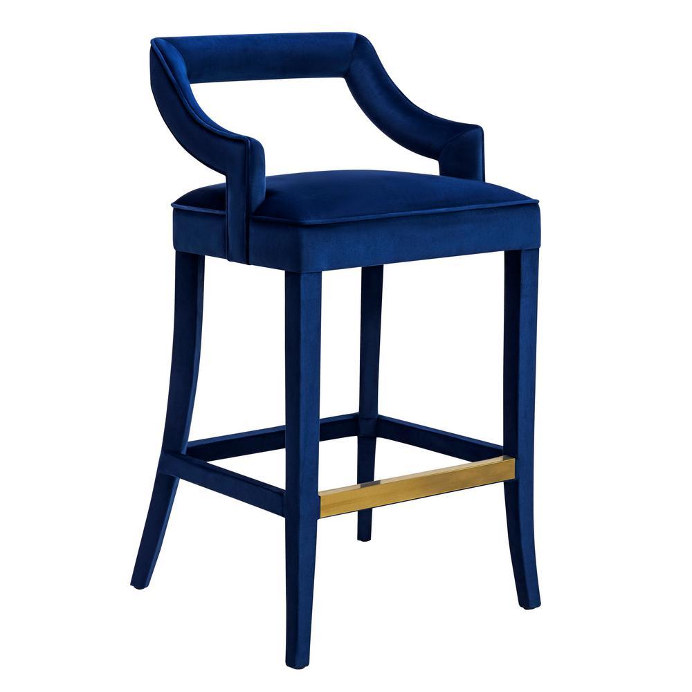 Tov Furniture Tiffany 30 7 In Navy Velvet Bar Stool Tov