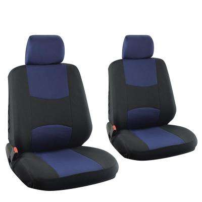 Polyester Seat Covers Set 26 in. L x 21 in. W x 48 in. H 6-Piece Seat Cover Set Broken Striped Black and Blue