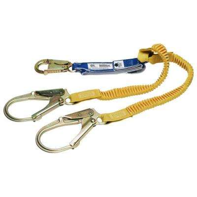 Upgear 6 ft. DeCoil Stretch Twin Leg Lanyard (DCELL Shock Pack, Elastic Web, Snap Hook, Rebar Hook)
