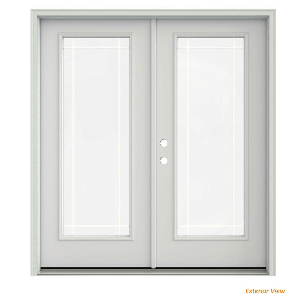 72 in. x 80 in. Primed Steel Right-Hand Inswing 9 Lite Glass Stationary/Active Patio Door