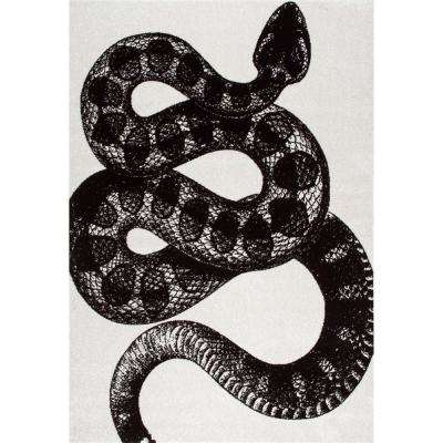 Thomas Paul Serpent Black and White 7 ft. 6 in. x 9 ft. 6 in. Area Rug