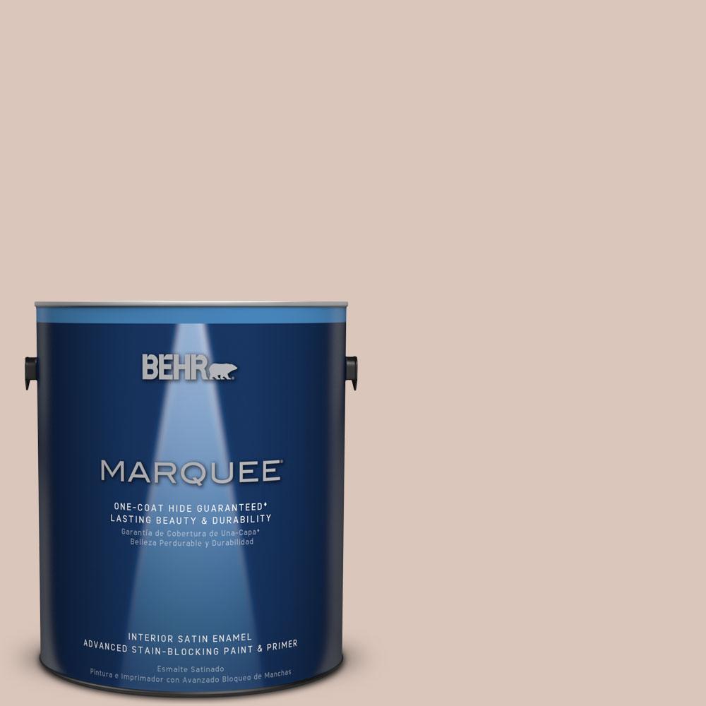 1 gal. #MQ3-38 Suede Beige One-Coat Hide Satin Enamel Interior Paint