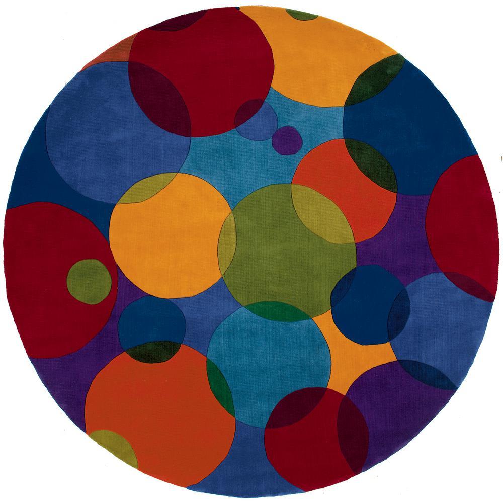 Contempo Multicolor 5 ft. 9 in. Round Area Rug