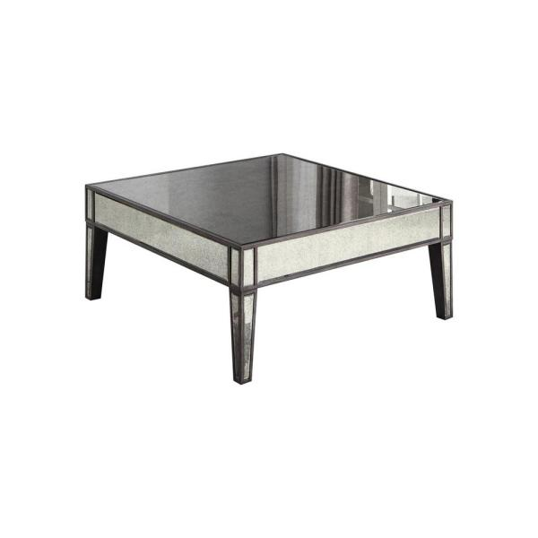 Corey Smoked Mirror Square 40 in. Coffee Table, Grey Brown