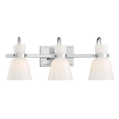 Curved Bell Style 24 in. 3-Light Chrome Vanity Light with Opal Glass Shades