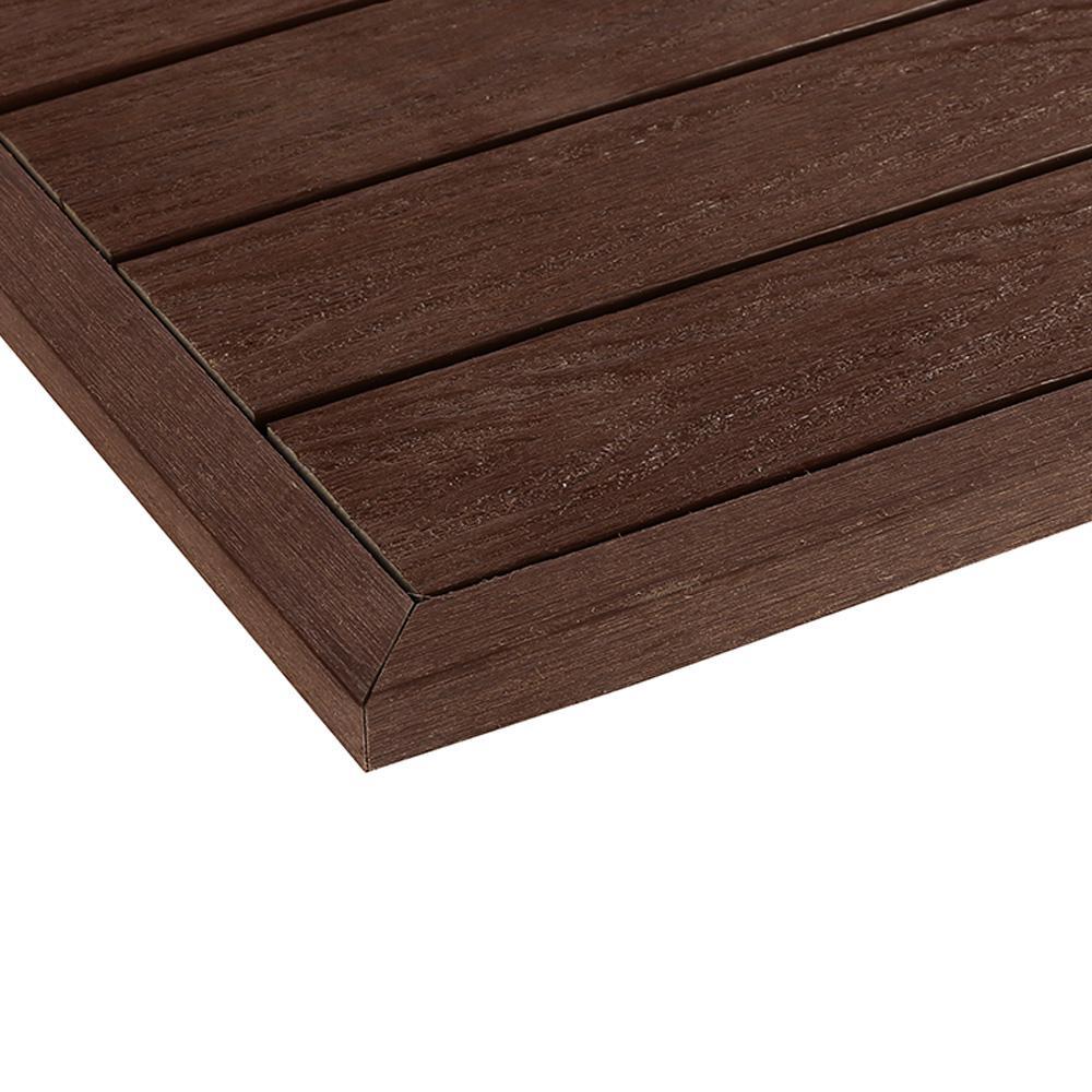 NewTechWood 1/12 ft. x 1 ft. Quick Deck Composite Deck Tile Outside Corner Fascia in California Redwood (2-Pieces/Box)