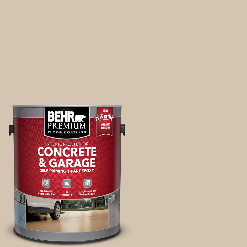 BEHR Premium 1 gal. #N300-3 Casual Khaki Self-Priming 1-Part Epoxy Satin Interior/Exterior Concrete and Garage Floor Paint