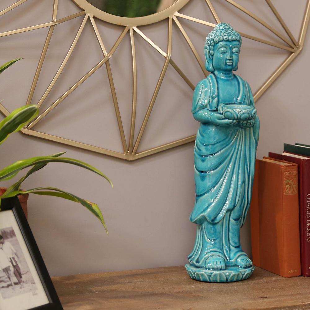 Urban Trends Collection Blue Candle Ceramic Decorative Lantern 22151