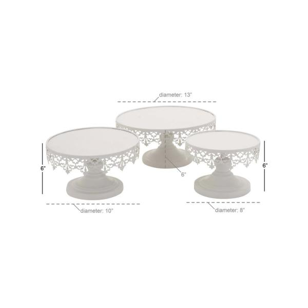 Litton Lane White Round Cake Stands With Cutout Lattice Lace Overhang Set Of 3 96998 The Home Depot