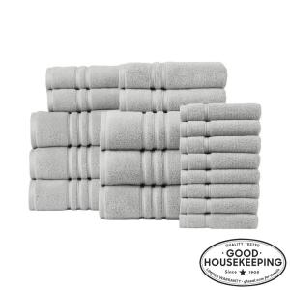 Turkish Cotton Ultra Soft 18-Piece Towel Set in Shadow Gray