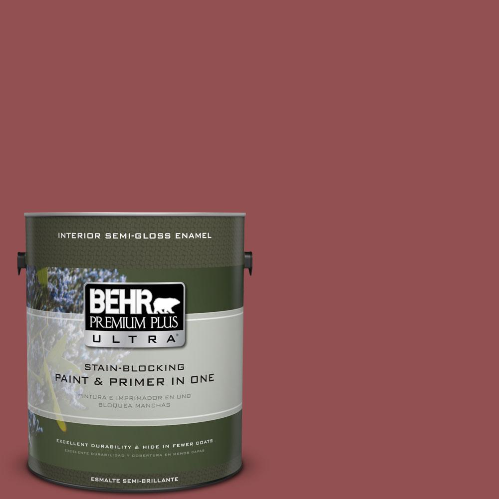 1 gal. #PPU1-8 Pompeian Red Semi-Gloss Enamel Interior Paint and Primer