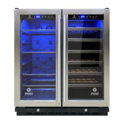 30 in. 33 Bottle/101 Can Wine and Beverage Cooler in Stainless Steel