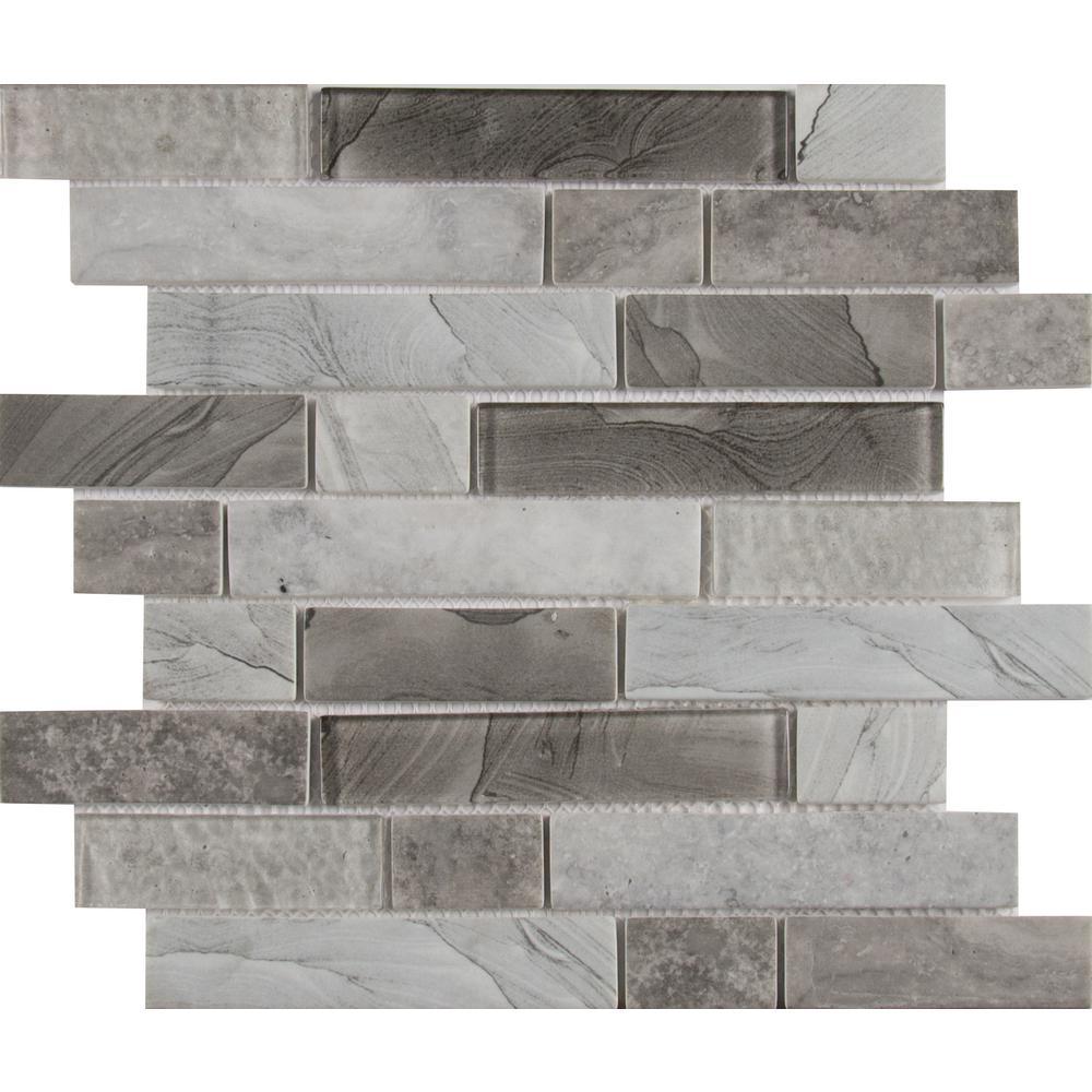 Tarvos Interlocking 11.81 in. x 11.81 in. x 6 mm Glass Mesh-Mounted Mosaic Tile